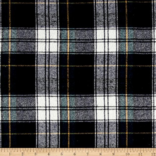 Richland Textiles Yarn Dyed Flannel Plaid Navy Green Fabric By The Yard (Flannel Shirt Oz 5)
