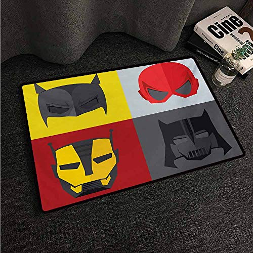 HCCJLCKS Welcome Door mat Superhero Masks for Disguise of Heroes for Evil Fun Cartoon Funny Retro Art Prints Country Home Decor W35 xL59 Red Grey Yellow