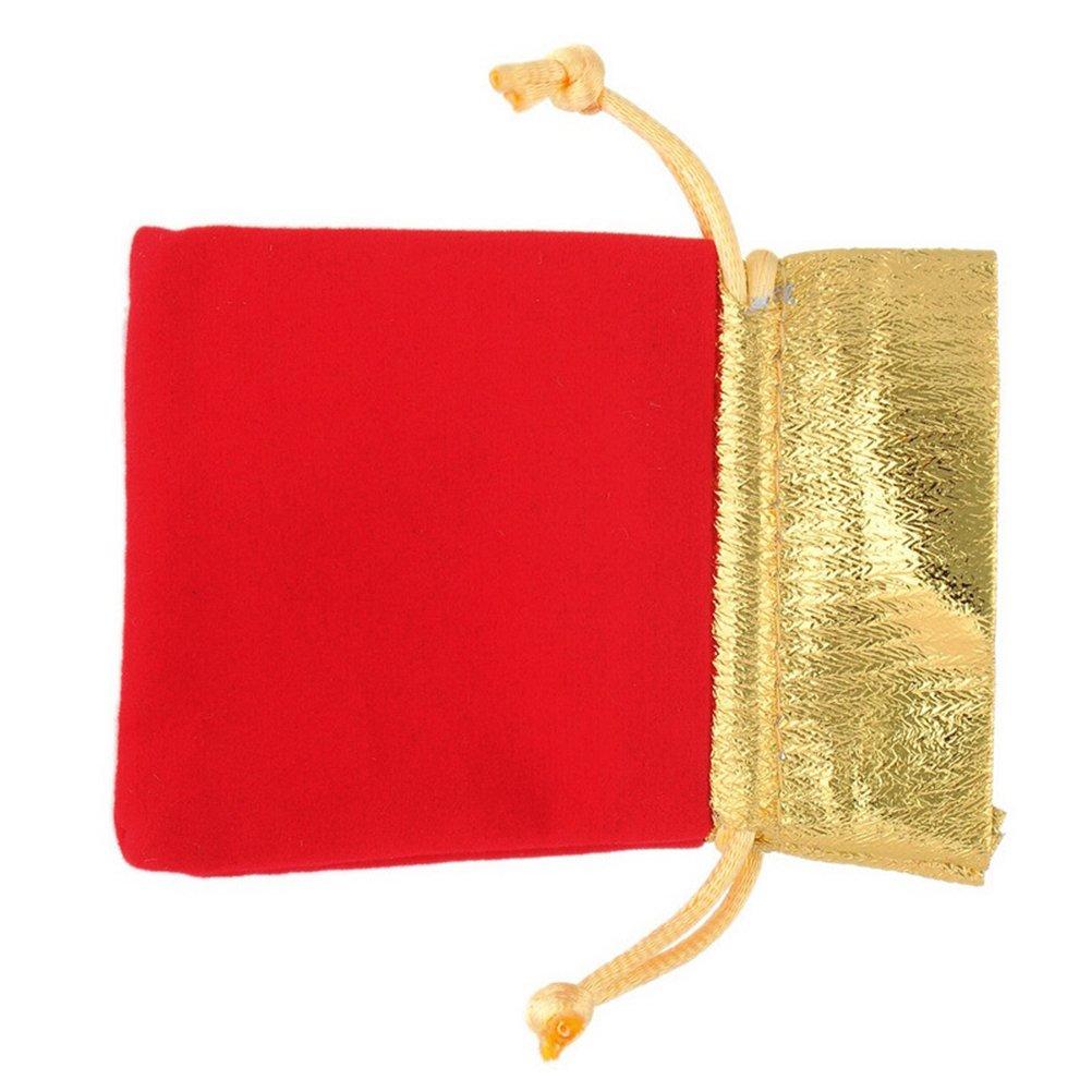 Tinksky 12pcs Or Rouge Flanelle Sac /à Cordon Pochette Bijoux Cadeau Sacs Pochette Partie Mariage Cadeau Sacs Rouge
