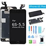 For iPhone 6S Plus Screen Replacement LCD Display with Home Button Front Camera Speaker 3D Touch Digitizer Glass Assembly +Tools for iPhone 6s Plus Black 5.5'' (A1634, A1687, A1699)
