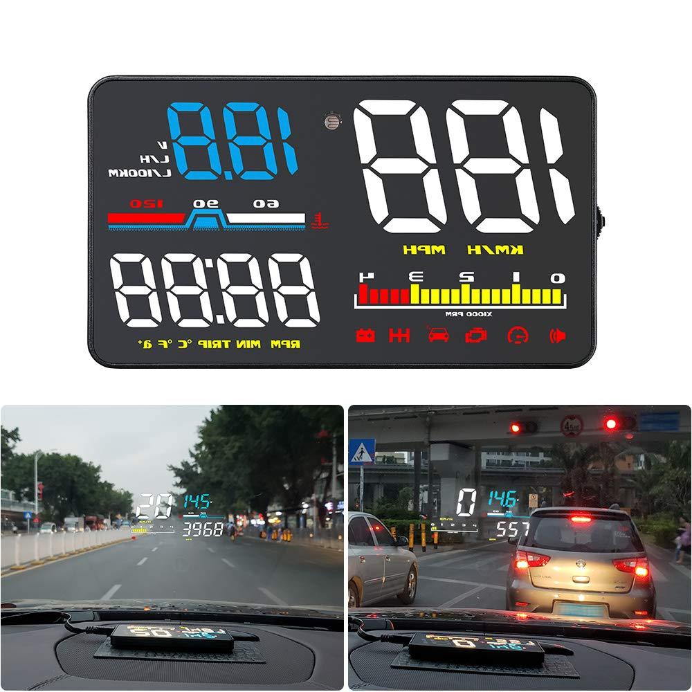 Qianbao Head-Up Display Car HUD 5'' Windshield Screen Projector with OBD II/EU OBD Interface Plug by QianBao