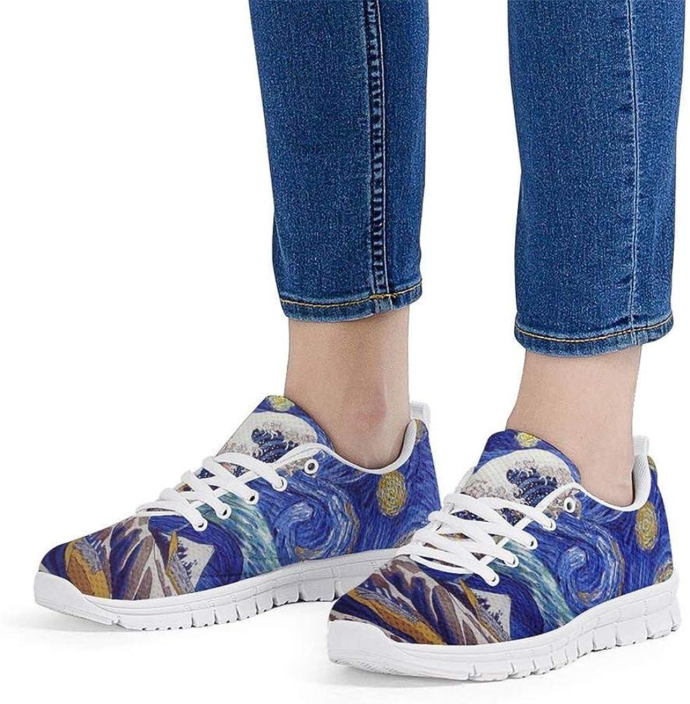 Hugs Idea Chaussures de course à lacets en maille respirante Great Wave Starry Night White