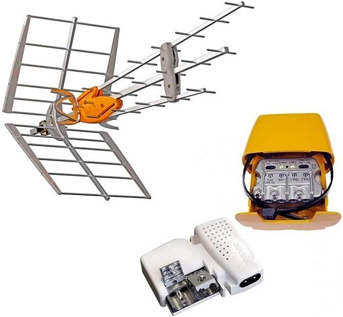 TELEVES - Pack 149921 DAT Boss Antena UHF Inteligente LTE700 (C.21 - C.48) + Alim 24 V + Amplificador de mástil