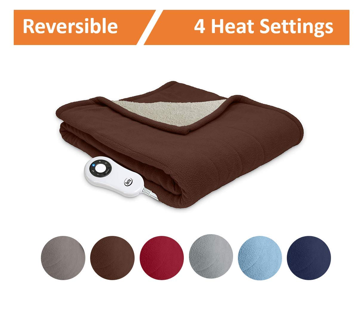Serta | Reversible Sherpa / Fleece Heated Electric Throw Blanket for Bed or Couch (Beige) Perfect Fit 861065