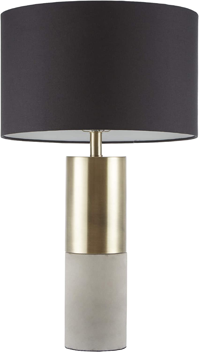 "Hampton Hill MPS153-0079 Fulton Desk Lamp, Bedside Nightstand Bedroom Light Modern Luxe Metal, Concrete Base, Fabric Drum Shade Accent Furniture Décor, 27.5"" Tall, Gold/Black"