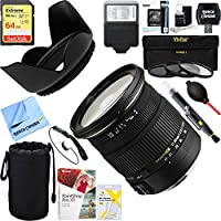 Sigma (58C205) 17-50mm f/2.8 EX DC OS HSM FLD Large Aperture Standard Zoom Lens for Sony + 64GB Ultimate Filter & Flash Photography Bundle