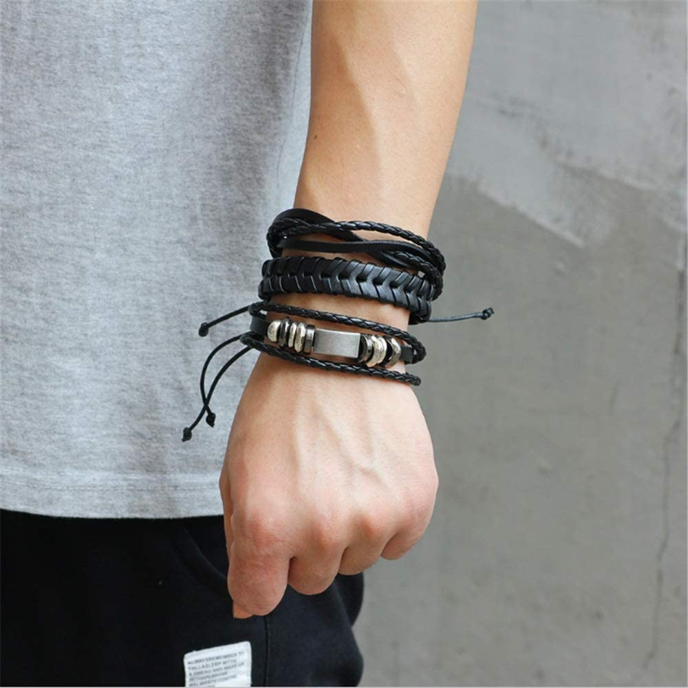 Bracelet homme Paquet /À La Main De 6 Pcs Simple Couleur Marron Bracelet En Cuir Pour Hommes Bracelet Jonc Bracelet Pour Enfants Gar/çons Filles Adolescents Femmes Bracelets Ensemble Homme Cuir V/éritabl