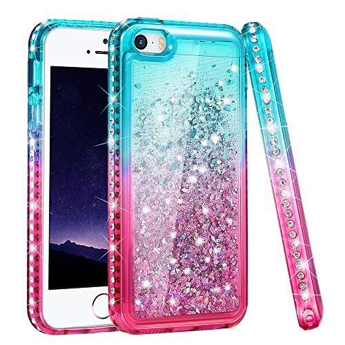 iPhone 5S Case, iPhone SE/iPhone 5 Case, Ruky [Gradient Quicksand Series] Glitter Flowing Liquid Floating Sparkle Bling Diamond Soft TPU Girls Women Cute Case for iPhone 5/5S/SE - Teal&Pink