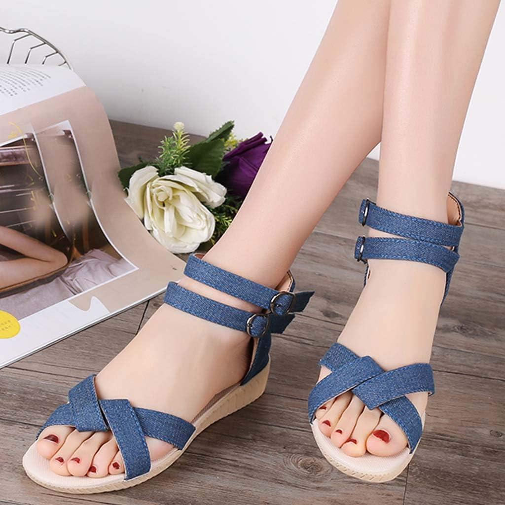 BEAUTYVAN Girls Strappy Gladiators Comfortable Open Toe Canvas Double Buckle Beach Sandals Light Blue