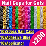 New 200pcs - Soft Nail Caps for Cats + 10x Adhesive Glue + 10x Applicator / XS, S, M, L, paw, claw, cover, lot, cat Choose color and size!