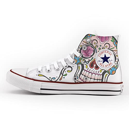 Converse All Star High Customized and Printed - handmade shoes - Italian Brand - Mexican Skull