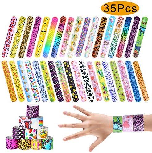 ONESING 35 Pcs Slap Bracelet Party Favors Slap BandsColorful Hearts Animal Print Toys Party Favors (35 Designs) Birthday School Classroom Prize for Boys Girls 1.2 x 8.7 Inch