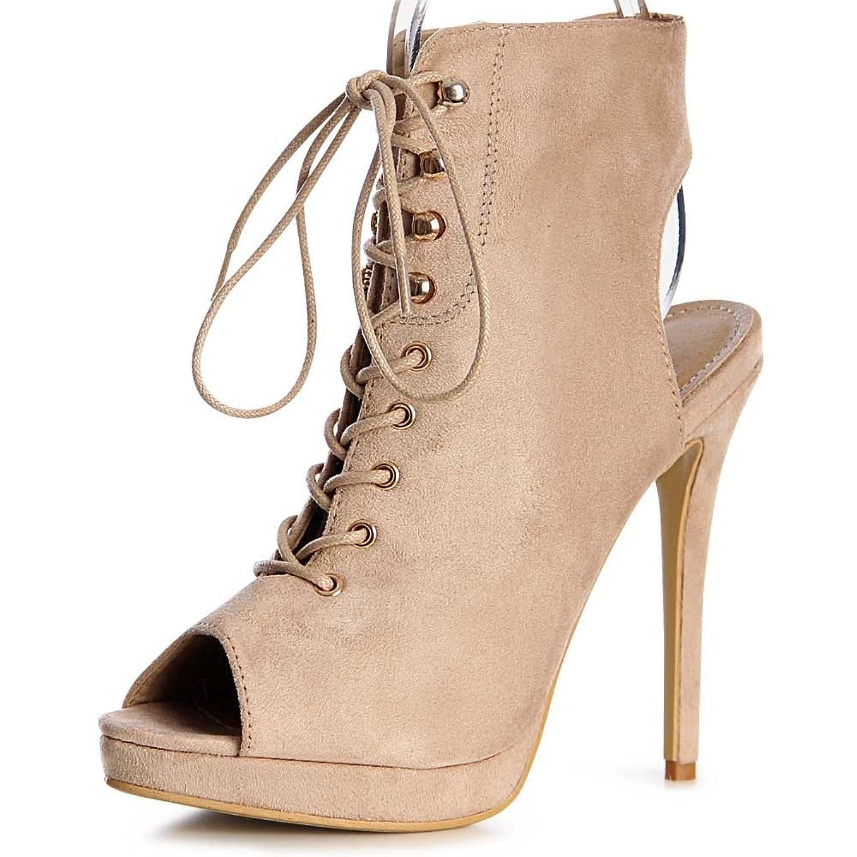 Damen Schnürsandaletten Pumps Peep Toe 1156, Farbe:Beige;Größe:38:  Amazon.de: Schuhe & Handtaschen