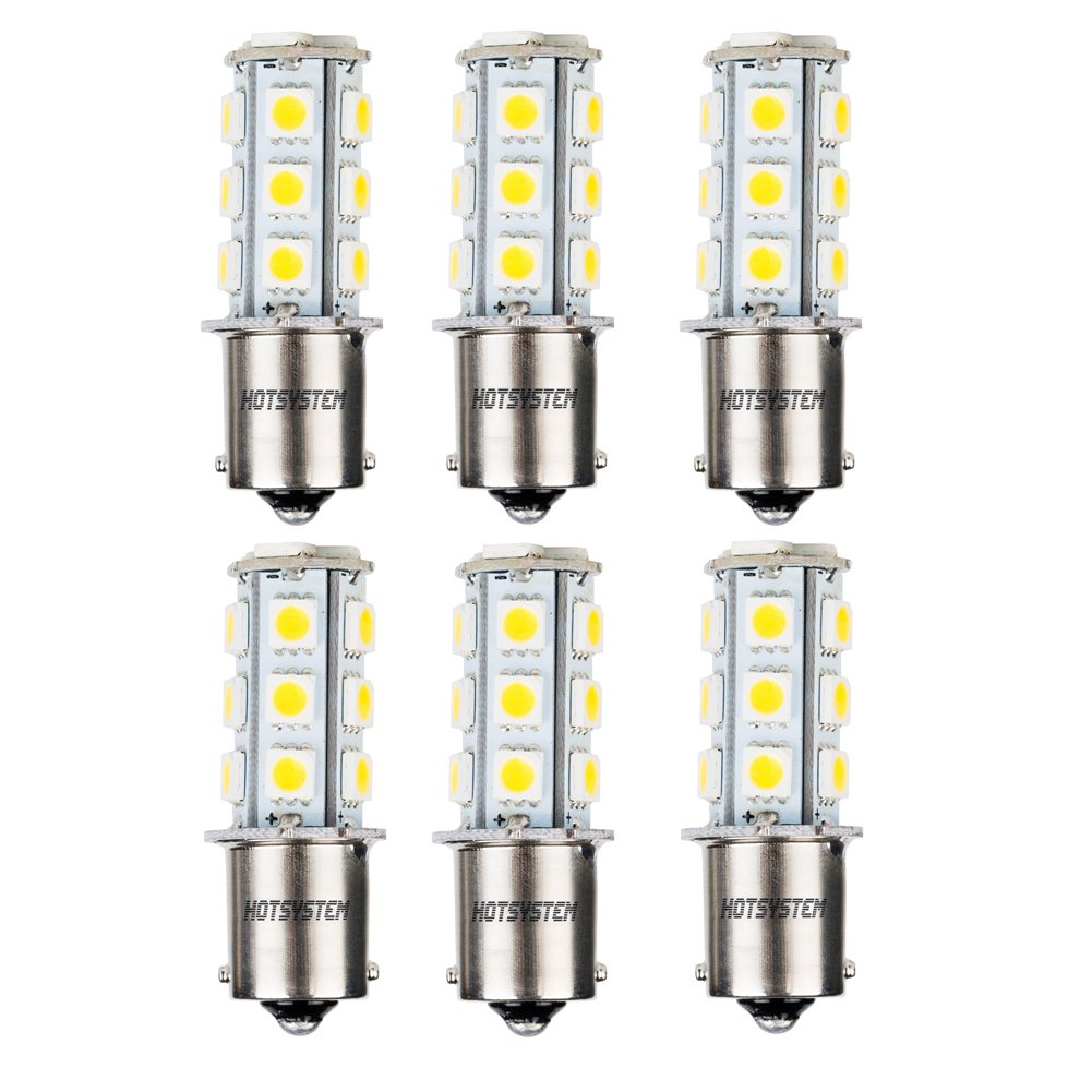 HOTSYSTEM 1156 7506 1003 1141 LED SMD 18 LED Bulbs Interior RV Camper Warm White 10-Pack HOT SYSTEM HS-C00879B1x10+W3