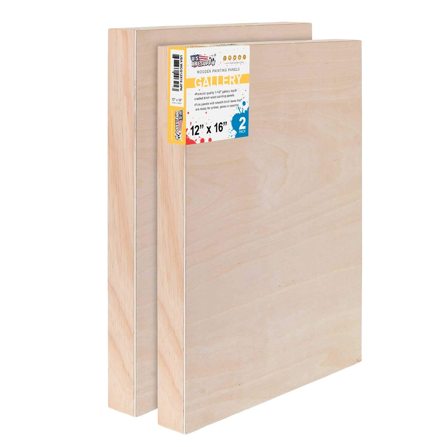 U.S. Art Supply 12'' x 16'' Birch Wood Paint Pouring Panel Boards, Gallery 1-1/2'' Deep Cradle (Pack of 2) - Artist Depth Wooden Wall Canvases - Painting Mixed-Media Craft, Acrylic, Oil, Encaustic