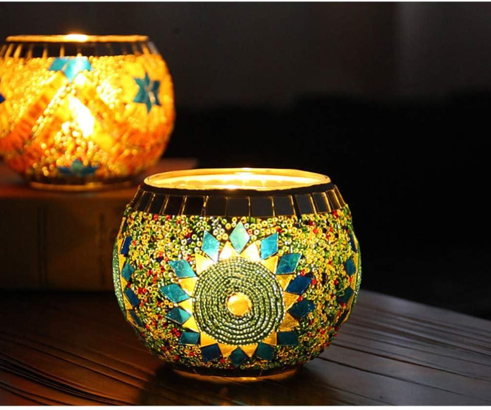 Mobestech Mosaic Tea Light Holder European Style Turkish Globe Mosaic Glass Candle Tealight Holder for Wedding Party Table Centerpiece Decoration