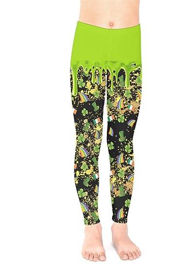 3e6f07e697b32 Amazon.com: PattyCandy Little/Big Kids Tights Irish Lucky Shamrock Clover  Leaves Pattern Unisex Stretchy Leggings: Clothing