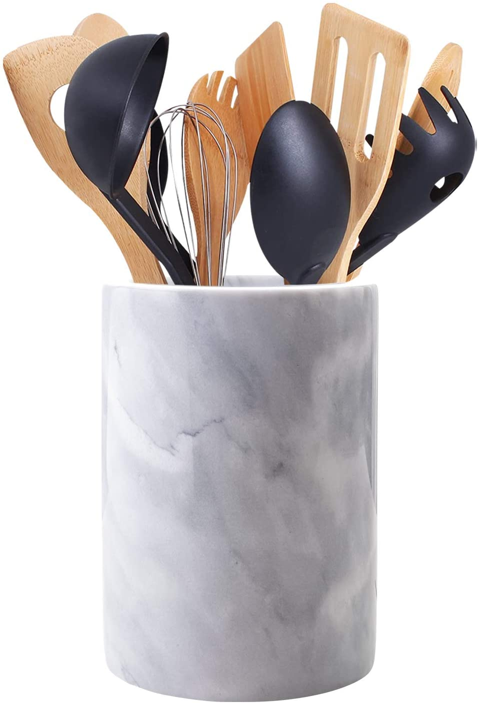 Homeries Marble Kitchen Utensil Holder   Eye-Catching Kitchen Counter Organizers and Storage Helps Keep Your Household Tidy   Caddy Makes Excellent Vintage Farmhouse Home Kitchen Décor