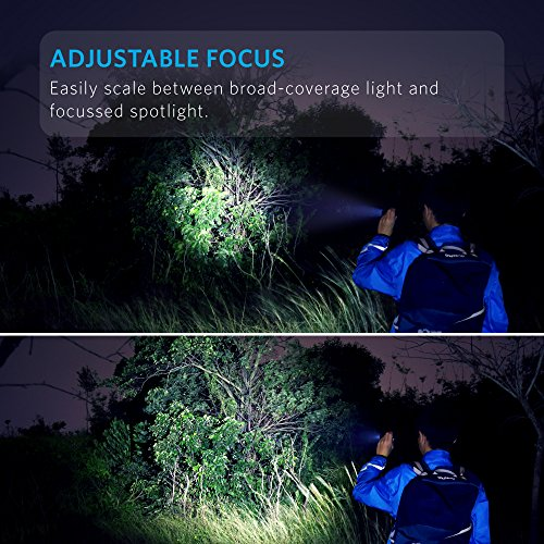 Anker Super Bright Tactical Flashlight, Rechargeable (18650 Battery Included), Zoomable, IP65 Water Resistant, 900 Lumens CREE LED, 5 Light Modes for Camping and Hiking, Bolder LC90