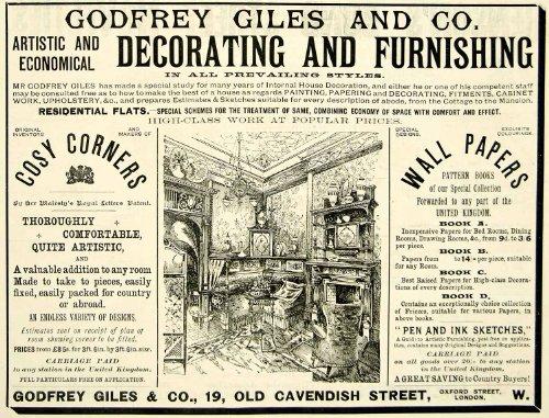 1895 Ad Godfrey Giles Victorian Home Furnishings Wallpaper Interior Decoration - Original Print Ad