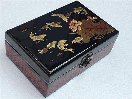 Hongge Caja Joyero,Empuje la Laca luz Ware joyería Caja joyería Chino Pintado a Mano Antigua Caja Caja China: Amazon.es: Hogar
