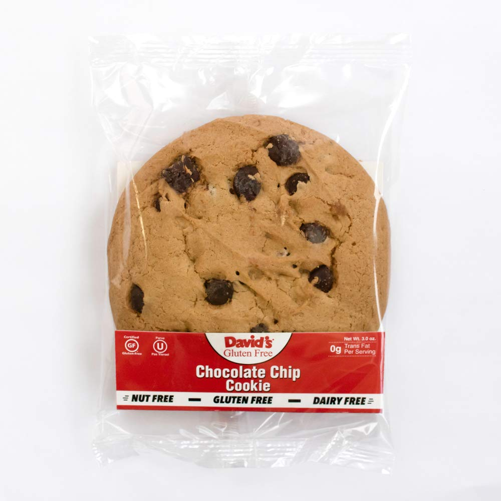 David's Gluten Free Thaw N Serve Invidually Wrapped Chocolate Chip Cookies 3 ounces (Pack of 24) by David's Cookies