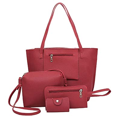 5ae38be8283d Amazon.com  Hot Sale Ladies Pack Large Capacity Fresh Simple Women Shoulder  Bag Popular Fashion Casual Female Tote Composite Handbag Color Red  Shoes