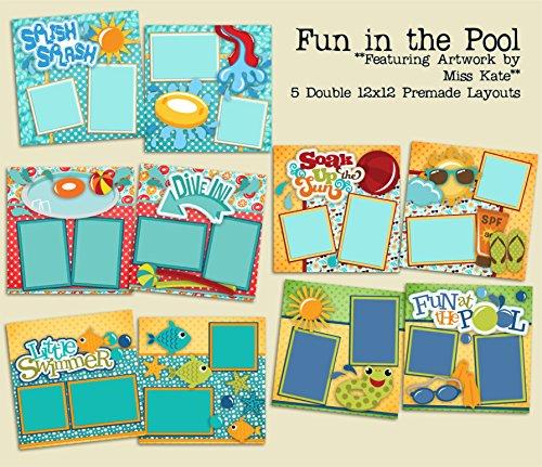 Fun Page Kit - Fun In The Pool - 5 Double Page Layouts