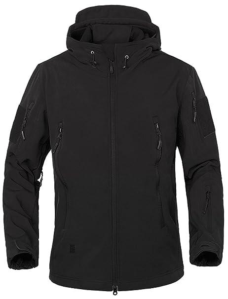 TACVASEN Winter Jacket Men Waterproof Warm Black Military Jacket Hooded  Softshell Fleece Jacket with hood Airsoft 870e93c0b
