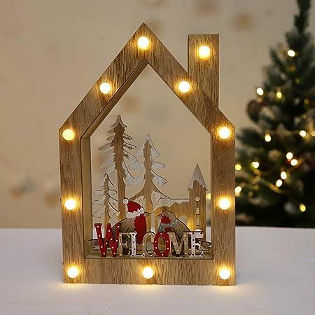 XTF-LIGHTS Luces De Navidad Brillante Casa Pequeña Luces De Madera ...
