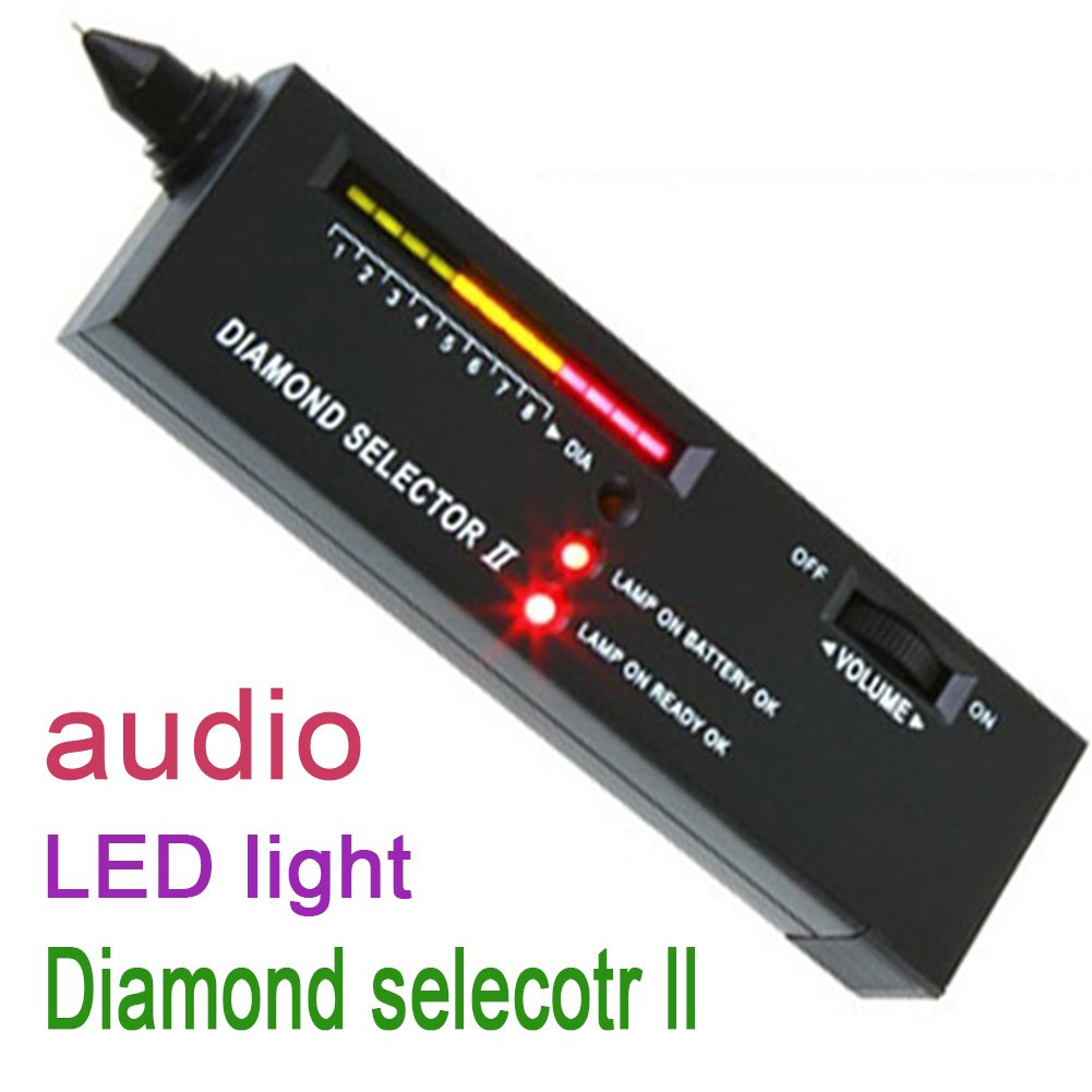 Jewelry Diamond Testers,Diamond Selector II Portable Electric Audio//LED Indicator Precious Stone Tester with Case for Sapphire,Ruby,Crystal,Agate,Jade Black