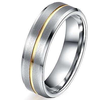 Amazon Com Women 6mm Tungsten Carbide Channel Set 18k Gold Line