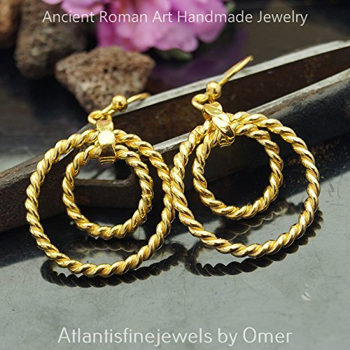 925 Sterling Silver Handmade Twisted Circle Earrings By Omer 24k Gold Vermeil