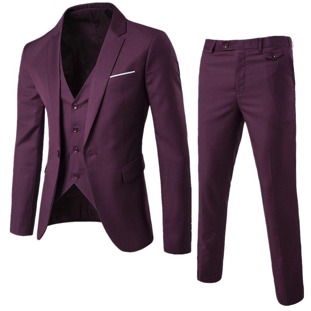 NiuZi Men's Fashion Casual Slim Fit Suit 3-Piece Business Jacket Vest &Pants (US S / Tag L, Dark red)