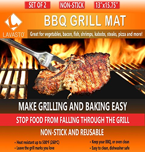 BBQ Grill Mat Set of 2 Mats As Seen On TV A Miracle Barbecue and Baking Mat Nonstick Accessory for Outdoor Barbecue and Camping Cut to Fit Reusable for Years and Easy to Wash Dishwasher Safe PFOA-Free