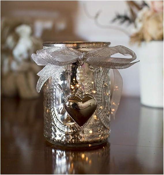 Photophore argent/é Relief avec Coeur LEsprit des Anges