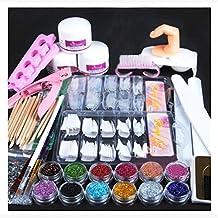 Alonea Acrylic Powder Glitter Nail Brush False Finger Pump Nail Art Tools Kit Set