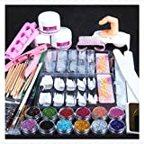 Alonea Acrylic Powder Glitter Nail Brush False Finger Pump Nail Art Tools Kit Set (Colorful)