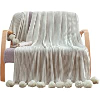 LIFEREVO 100% Cotton Hypoallergenic Striped Cable Knitted Throw Blanket Rug Pompoms Tassels Solid (Grey, 100 X 150CM)