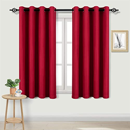 DWCN Room Darkening Red Curtains 45 inch Length – Faux Linen Light Filtering Grommet Living Room Curtains, Set of 2 Window Curtain Panels