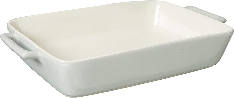 Le Regalo Rectangular Stoneware Baking Dish 13 5x8 25x2 5 White Kitchen Dining Amazon Com