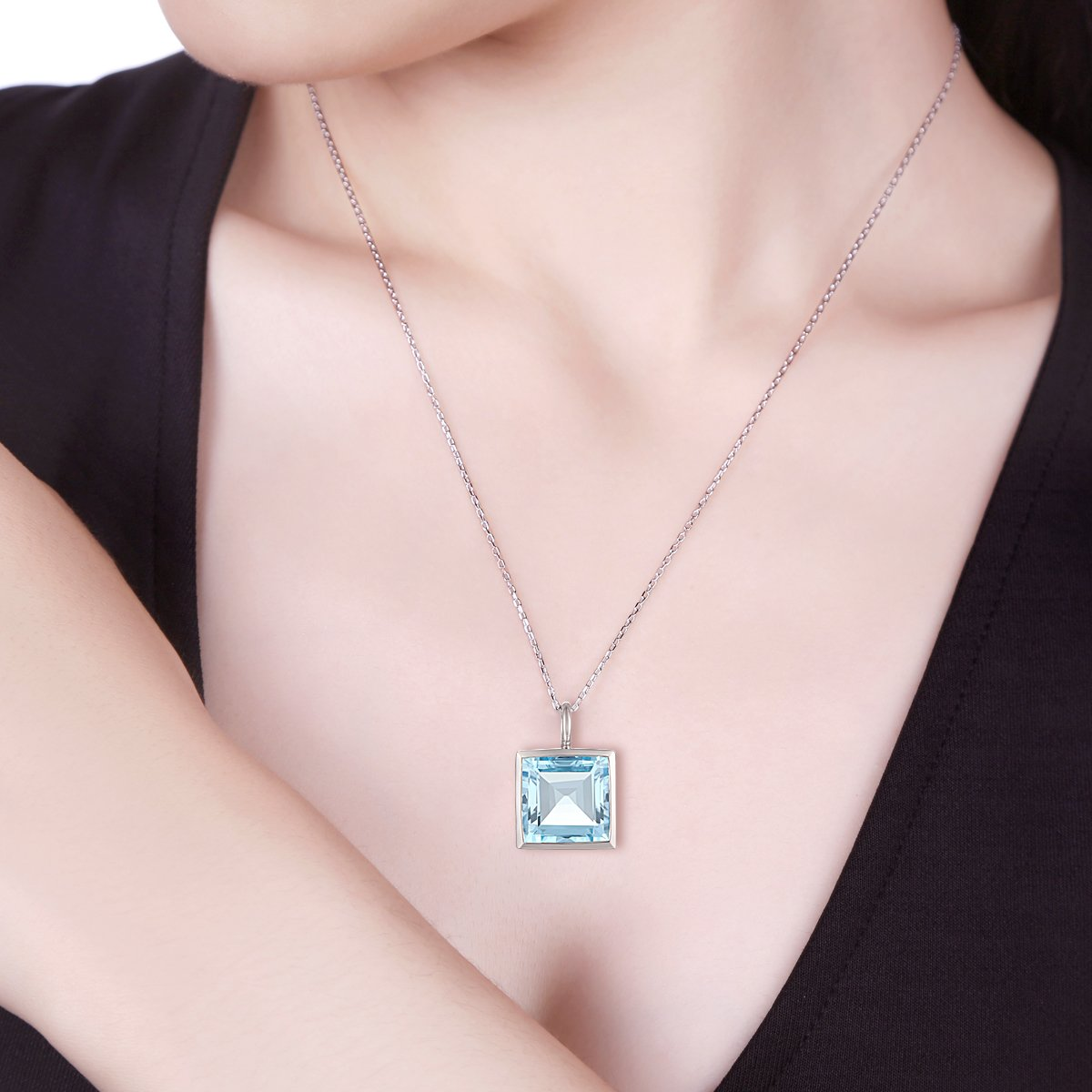 Easter Offer, Jewel Ivy 925 Sterling Silver Pendant with Sky Blue Topaz by Jewel Ivy (Image #2)