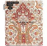 Tahari Home Bohemian Style Red Orange White Full Queen King Duvet Cover 3pc Set Moroccan Paisley Medallion Luxury Cotton  (King)