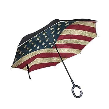 Wamika - Paraguas invertido de Doble Capa con asa en Forma de C, Resistente al