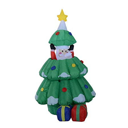 Arbol de Navidad + Papa Noel Hinchable + 2 Infladores y Luz LED ...