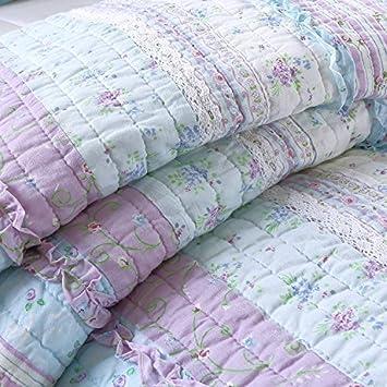 Cozy Line Home Fashions Raelynn Romantic Lace Light Lavender Orchid Blue Flower Print Stripe Cotton 3D Bedding Quilt Set, Reversible Coverlet, Bedspread for Girls Women Twin – 2 Piece