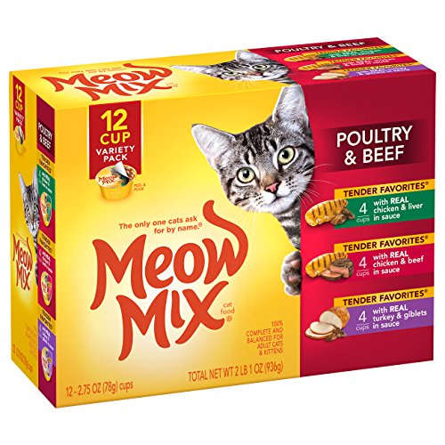 Meow Mix Tender Favorites Wet Cat Food, 2.75 Ounce Cups, (48) 2.75 Oz. Cups