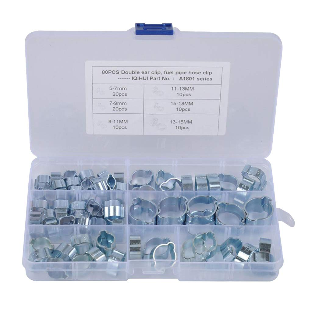 Stainless Steel Wire Tube Pipe Fuel Line Clip Assortment kit 6 Sizes 80PCS 5-18mm Double Ear Stepless Hose Clamps