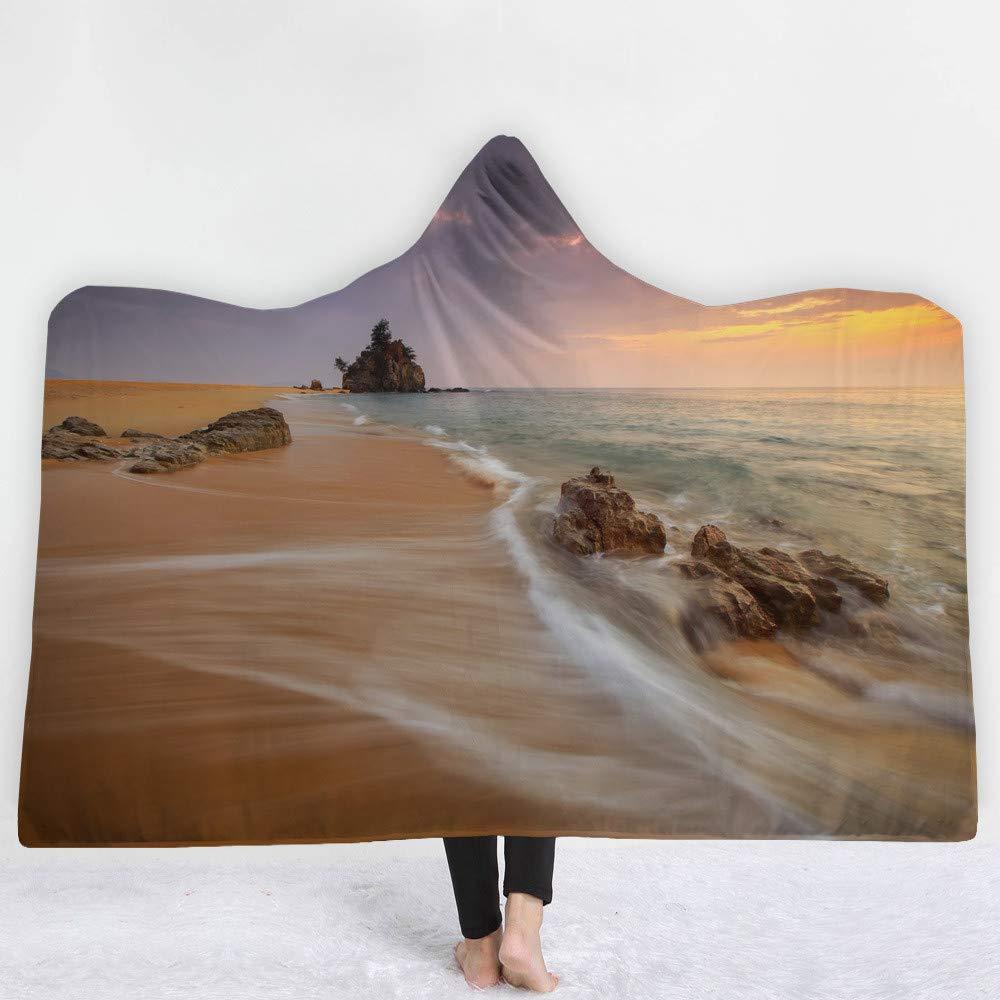 LMTR-blanket Manta con Capucha Serie de Paisaje del océano Fresco con Capucha Gorro Manta Manta Gruesa Manta Capucha Manta Siesta Manta niños Manta