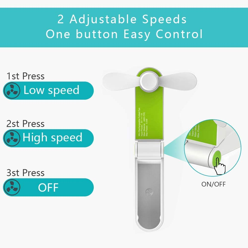 Office Soft TPE Material Travelling Personal Fan Handheld Foldable Fan Mini USB Desk Fan Portable Travel Fan Rechargeable Pocket Fan for Home Two Speeds Green